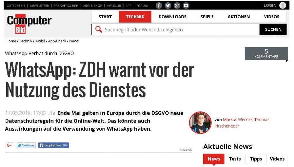 ZDH warnt Handwerker vor WhatsApp Nutzung wegen der DSGVO - Bericht in Computerbild