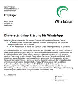 Einverständnis für WhatsApp mit WhatsSign holen