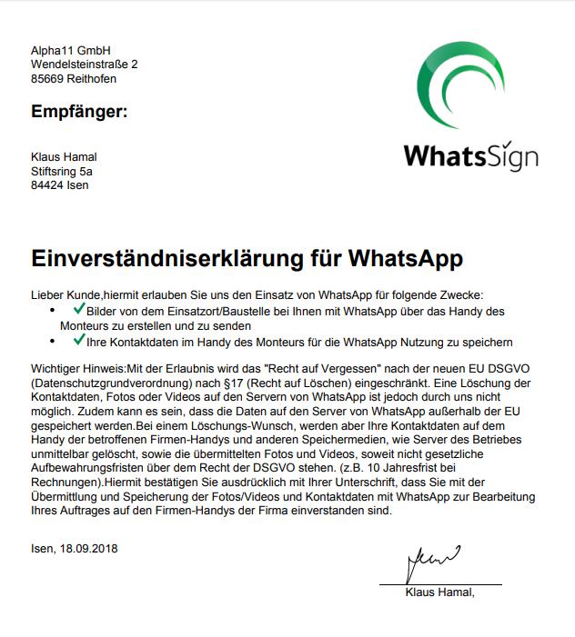 Fertig erstellte Einverständniserklärung aus dem Dashboard in WhatsSign. Downloadbar als PDF für den Betrieb.