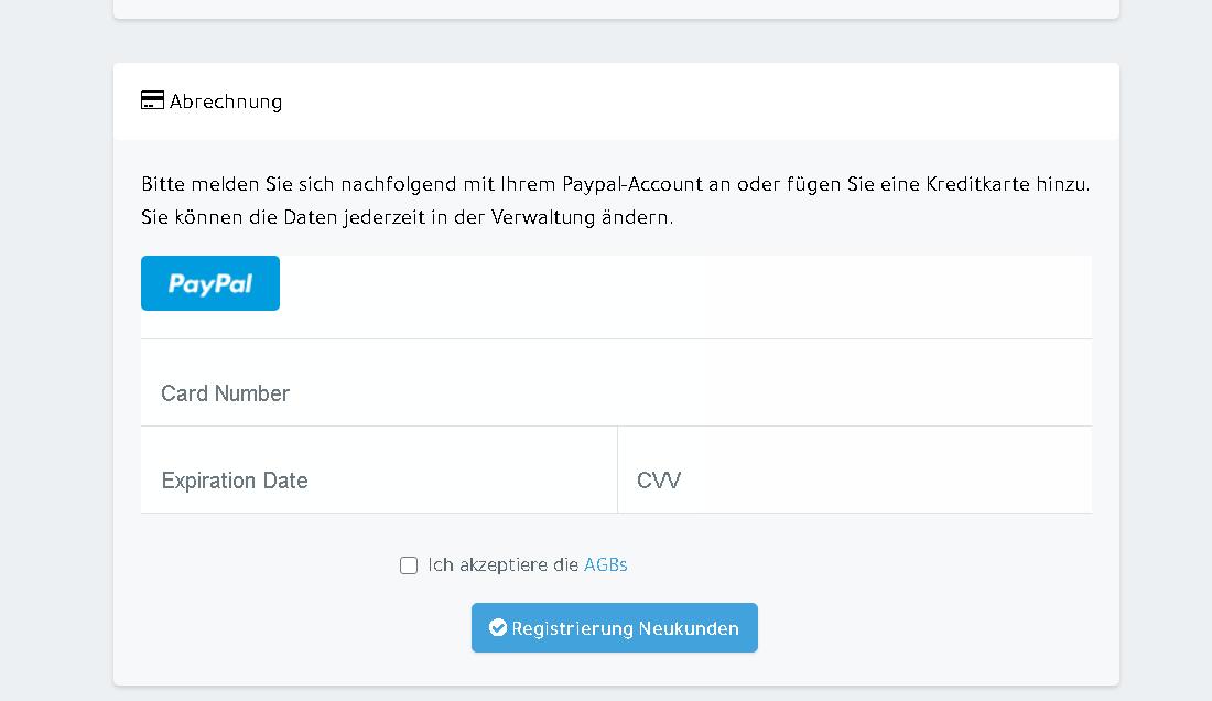 WhatsSign mit PayPal oder Kreditkarte registrieren