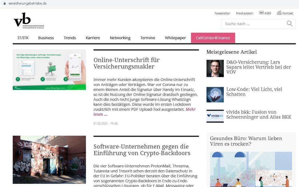 Bericht in Zeitschrift Versicherungsbetriebe.de über WhatsSign 2021/02